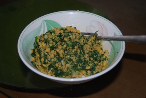 A veggie dish I make - lentils with spiced herb butter